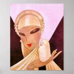 Blushing Bride Vintage Art Deco Illustration Posters