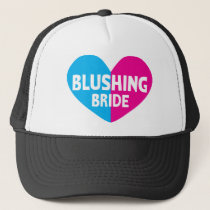 Blushing bride with heart trucker hat