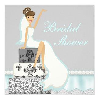 Blushing Brunette Damask Cake Bridal Shower Invite
