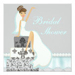 "Blushing Brunette Damask Cake Bridal Shower Invite 5.25"" Square Invitation Card"