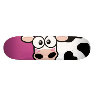Blushing Cow on Pink Skateboard