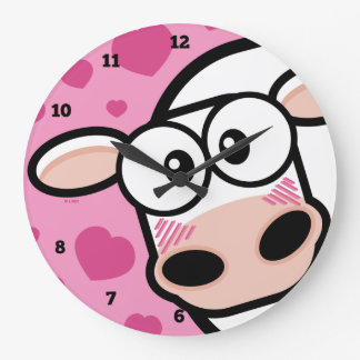 Blushing Cow with love Hearts Large Clock