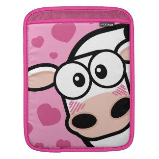 Blushing Cow with Pink Hearts Rickshaw iPad Sleeve