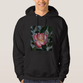 Blushing Delight Rose Adult Hooded Sweatshirt
