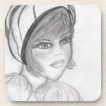 Blushing Flapper Girl Drink Coasters