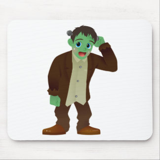 Blushing Frankenstein's Monster Scratching Head Mouse Pad