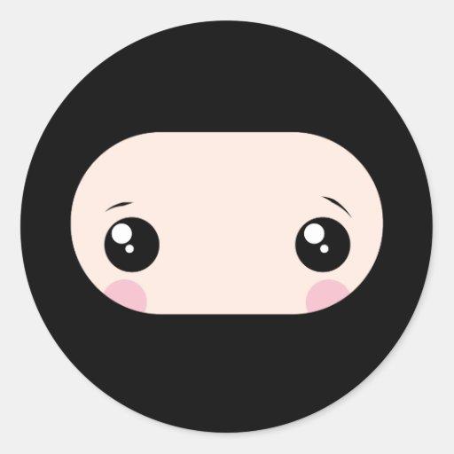 blushing kawaii ninja classic round sticker zazzle