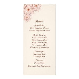 Blushing Pearl Daisy Border Wedding Menu Full Color Rack Card