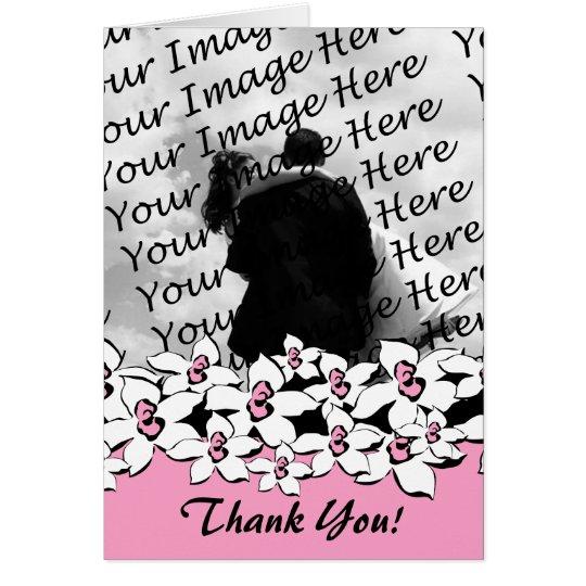 Blushing Pink Flowers Custom Photo Thank You Notes