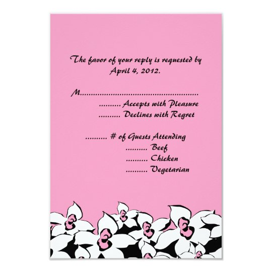 Blushing Pink Flowers Reply Cards with Menu Option
