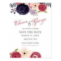 blushing red Navy floraa Save The Date Cards