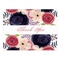 blushing red Navy floral Thank You notes Postcard