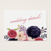 blushing red Navy floral Wedding details cards