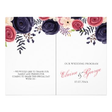 blushing red Navy floral Wedding programs