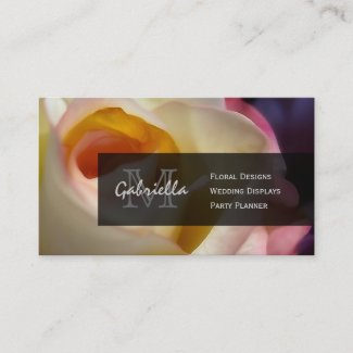 Blushing Rose : Monogram Business Cards
