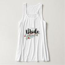 Blushing Rose Watercolor Floral Wedding Bride Tank Top