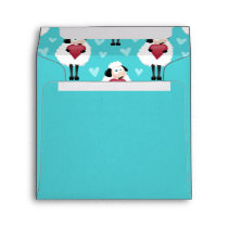 Blushing Sheep & Blue Hearts Pattern Envelope