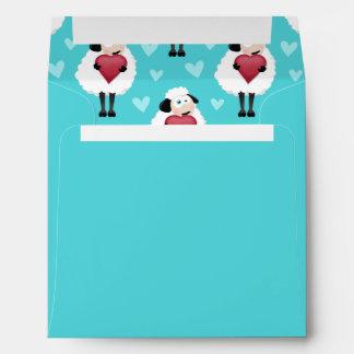 Blushing Sheep Blue Hearts Pattern Envelopes