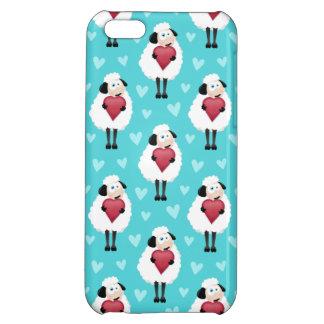 Blushing Sheep & Blue Hearts Pattern iPhone 5C Case