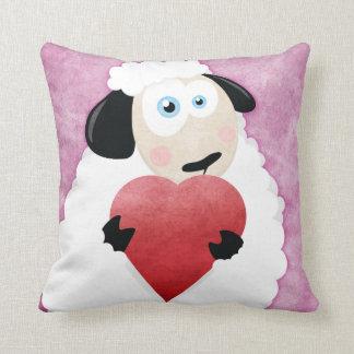 Blushing Sheep Holding Heart Throw Pillow