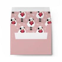 Blushing Sheep & Pink Hearts Pattern Envelope