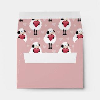 Blushing Sheep Pink Hearts Pattern Envelope