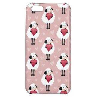 Blushing Sheep & Pink Hearts Pattern iPhone 5C Case