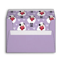 Blushing Sheep & Purple Hearts Pattern Envelope