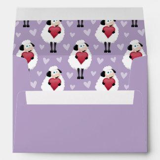 Blushing Sheep Purple Hearts Pattern Envelope