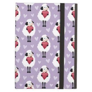 Blushing Sheep & Purple Hearts Pattern iPad Air Cover