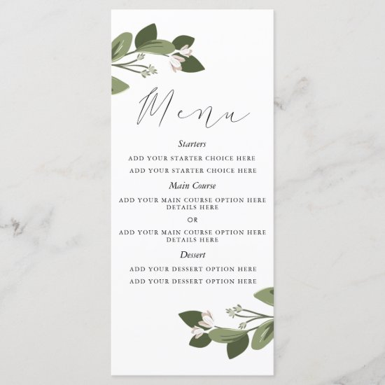 Blushing Sprigs Menu Card