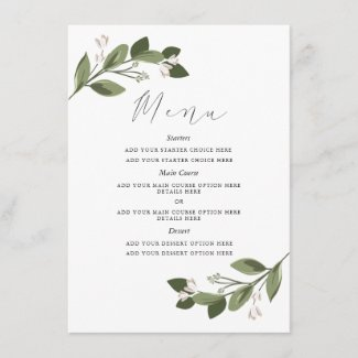 Blushing Sprigs Menu Card with Pink Back