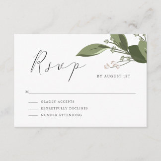Blushing Sprigs RSVP with Pink Back