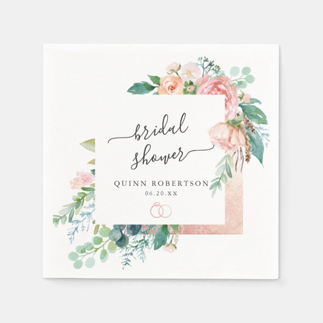 Blushing Summer Floral Bridal Shower Personalized Napkins