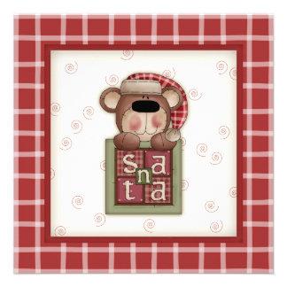Blushing Teddy Bear Christmas Party Invitations
