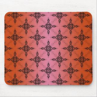 Blushing Vibrant Orange Damask Pattern Mouse Pad
