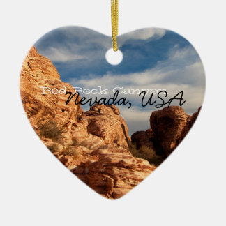 BLUSK Blue Sky Meets Red Rock Double-Sided Heart Ceramic Christmas Ornament