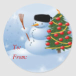 Blustery snowman stickers