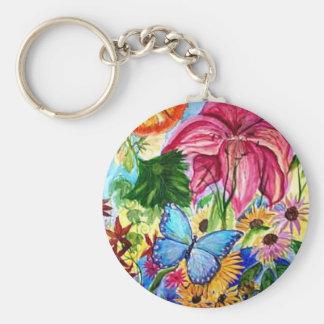 Blut Butterfly Garden Art Watercolor Basic Round Button Keychain