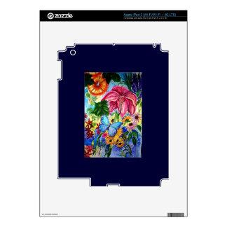 Blut Butterfly Garden Art Watercolor Skin For iPad 3