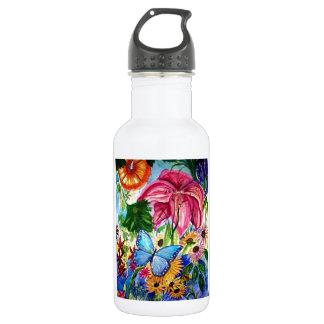 Blut Butterfly Garden Art Watercolor Stainless Steel Water Bottle
