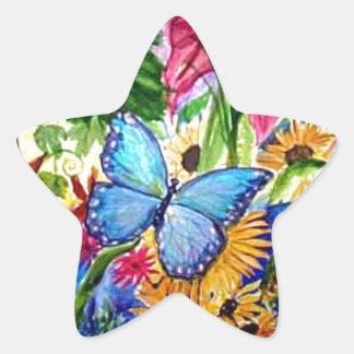 Blut Butterfly Garden Art Watercolor Star Sticker