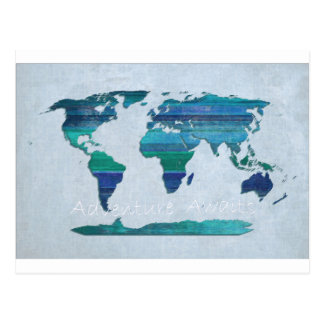 bluteal Lat Stripes Map Postcard