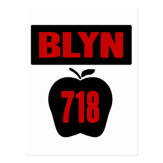 BLYN 718 Inside of Big Apple With Banner, 2 Color Postcard