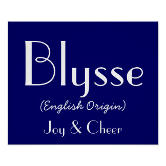 Blysse English Origin With Meaning In Navy I Print