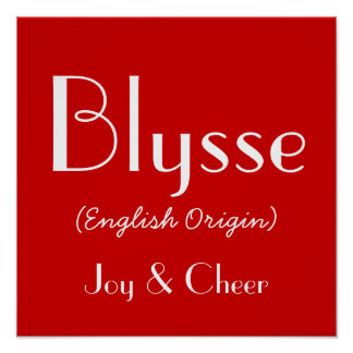 Blysse English Origin With Meaning In Red Poster