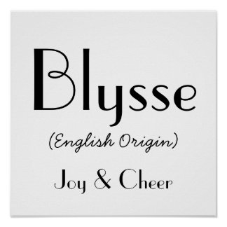Blysse English Origin With Meaning In White Poster