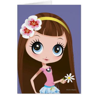 Blythe Holding Flower Greeting Card