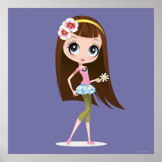 Blythe que sostiene la flor poster