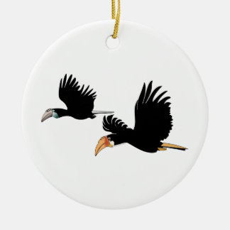 Blyth's hornbill birds - the symbol of true love ceramic ornament